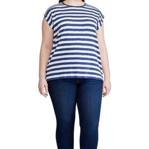 Chaps   Short Sleeve Striped Knit Top